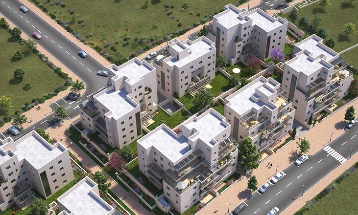 תמונת הדמייה עילית של פרויקט מגורים של דונה. דירות למכירה באשקלון