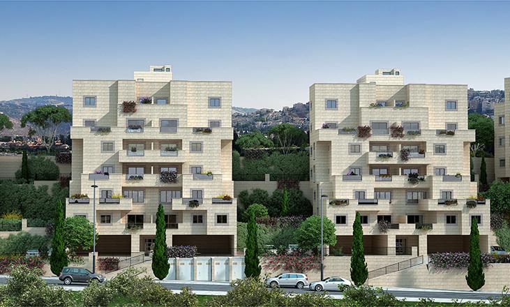 זווית נוספת: חזית בנין של דונה. דונה- דירות למכירה במרכז