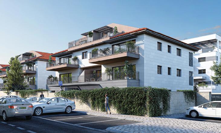 דירות למכירה בשוהם, תמונת בית מתוך הפרויקט, זווית מהחניה