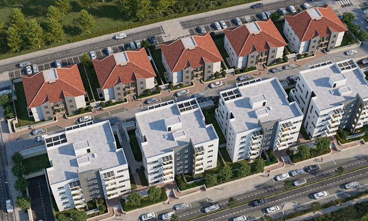 דירות למכירה בשוהם מקבלן, צילום מהאוויר של כל הפרויקט