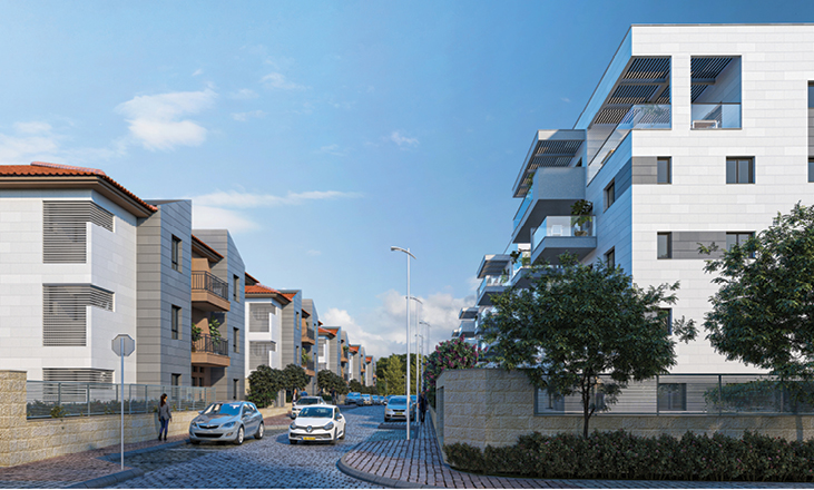 דירות למכירה בשוהם, תמונת פינת רחוב מתוך הפרויקט של דונה
